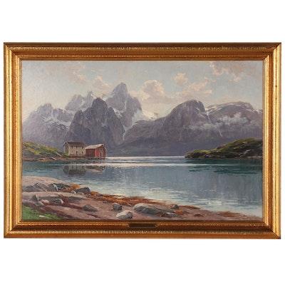 Herman Kiekebusch Landscape Oil Painting of Alpine Lake Scene