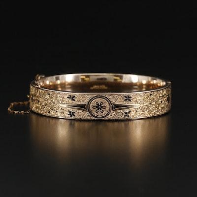 Vintage Gold Filled Taille D'epargne Bangle