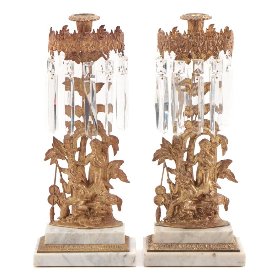 Pair of Victorian Gilt Brass and Marble Mantel Lusters, Late 19th Century