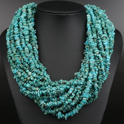 Turquoise Toursade Necklace with Sterling Silver Clasp