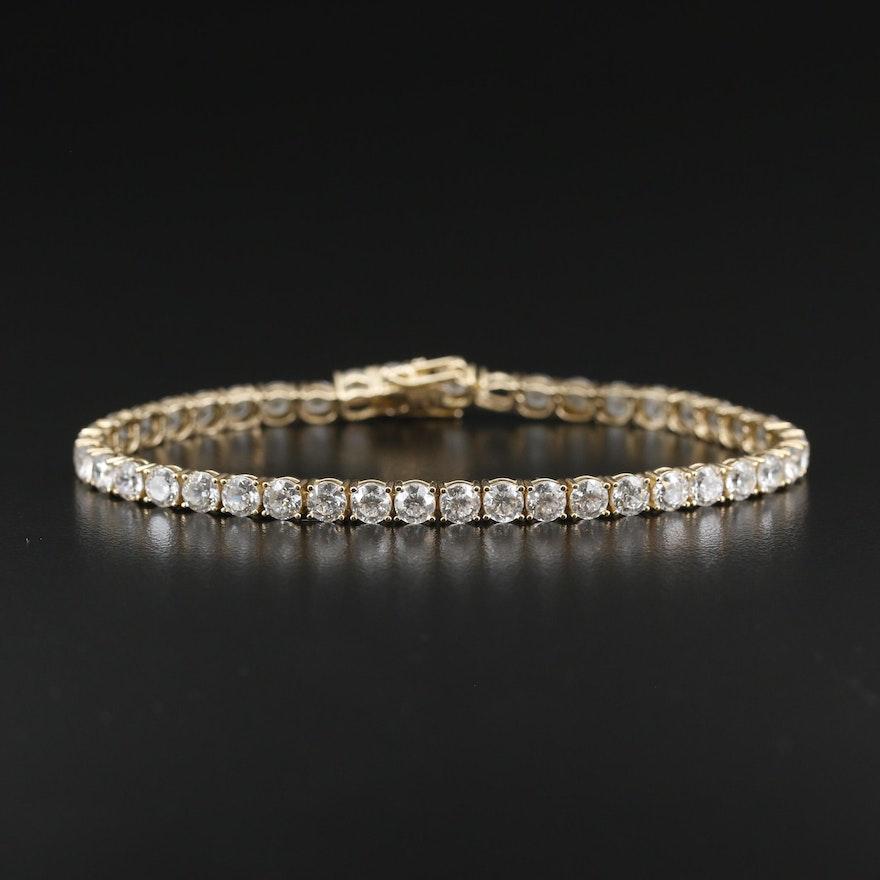 14K Cubic Zirconia Line Bracelet