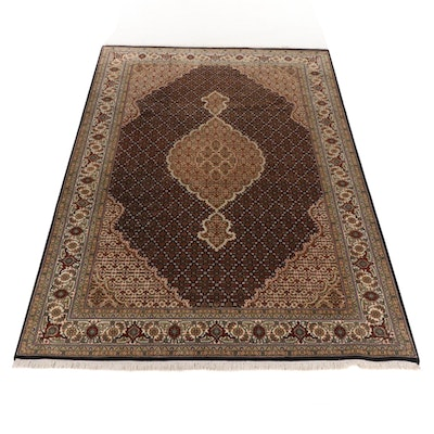 6'10 x 10'Hand-Knotted Indo-Persian Tabriz Silk and Wool Rug