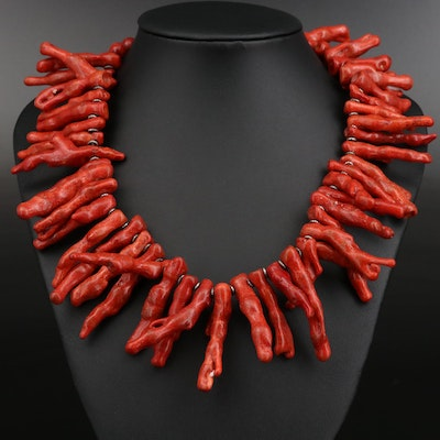 Paige Wallace For Marushka Sterling Silver Coral Necklace