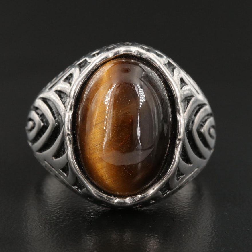 Stainless Steel Tiger's Eye and Enamel Dome Ring