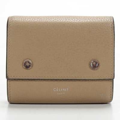 Celine Tan Pebbled Leather Trifold Wallet with Red Leather Interior