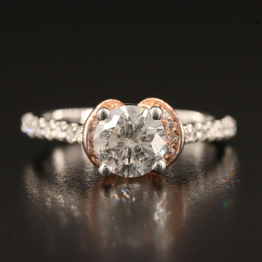 14K Two-Tone 1.31 CTW Diamond Cathedral Ring
