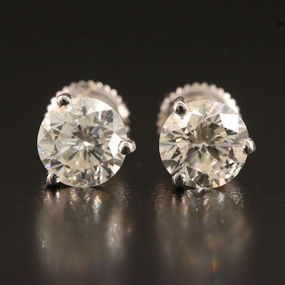 Platinum 2.02 CTW Diamond Stud Earrings with Sterling Silver Clutches