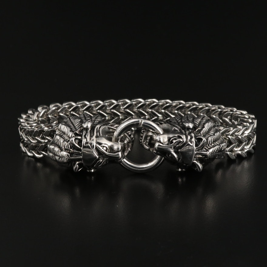 Double Lion Head Woven Link Bracelet