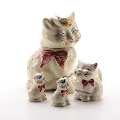 "Shawnee Pottery ""Puss 'n Boots"" Cookie Jar, Creamer, and Shakers, Mid-20th C."