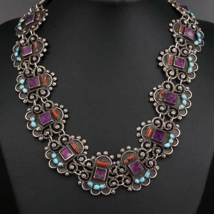 Vintage Mexican Sterling Silver Collar with Amethyst, Turquoise and Branch Coral