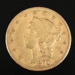 1870-S Liberty Head $20 Double Eagle Gold Coin