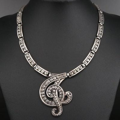 Margot de Taxco Repossé Swirl Collar Necklace