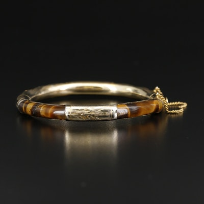 Tiger's Eye Hinged Bangle Bracelet
