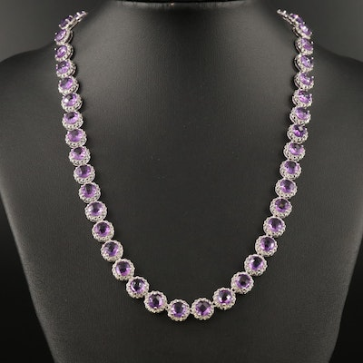 Sterling Silver Amethyst and Diamond Halo Necklace