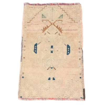 1'9 x 2'11 Hand-Knotted Turkish Oushak Rug, 1920s