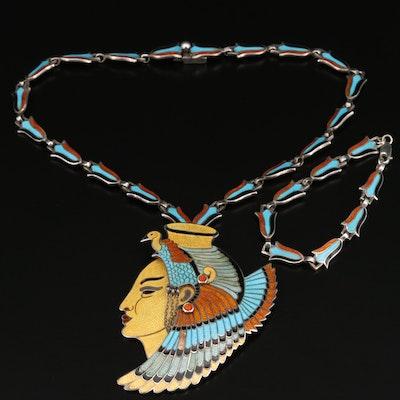 "1950s Margot de Taxco ""Cleopatra"" Champlevé Convertible Necklace and Bracelet"