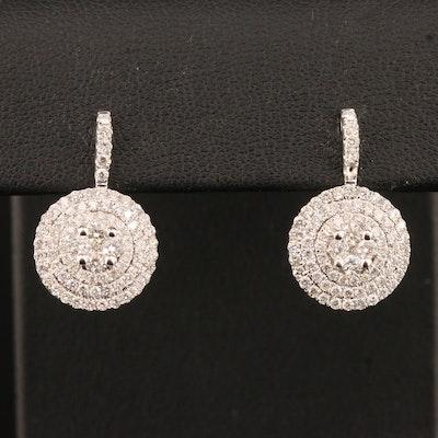 14K 1.40 CTW Diamond Triple Halo Drop Earrings