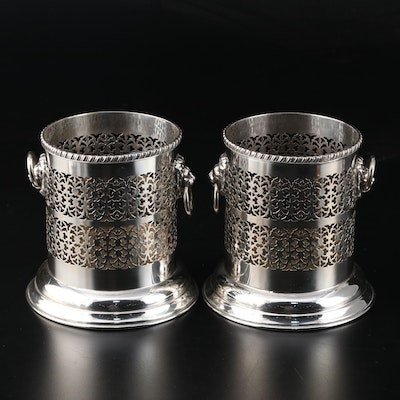 English Adam's Style Pierced Silver Plate with Lion Head Motif Bottle Caddies
