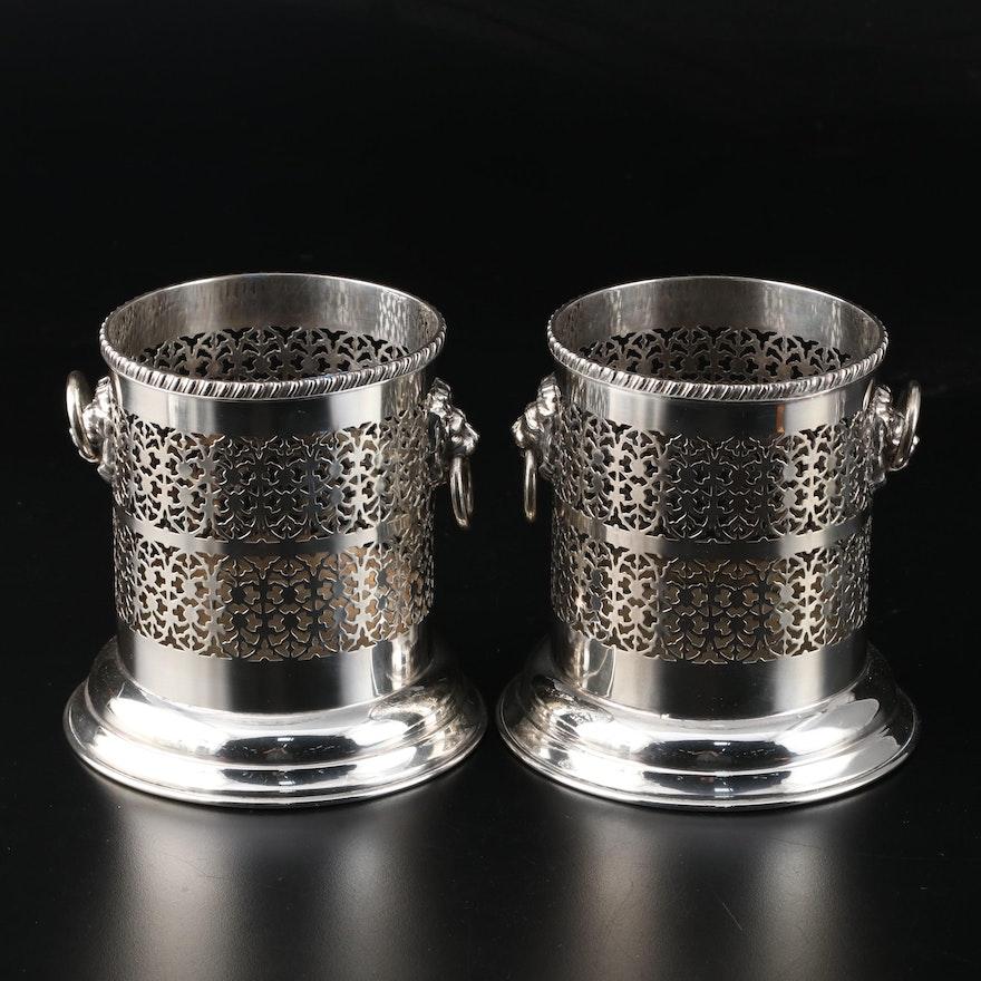 English Adam's Style Pierced Silver Plate with Lion Head Motif Bottle Caddies