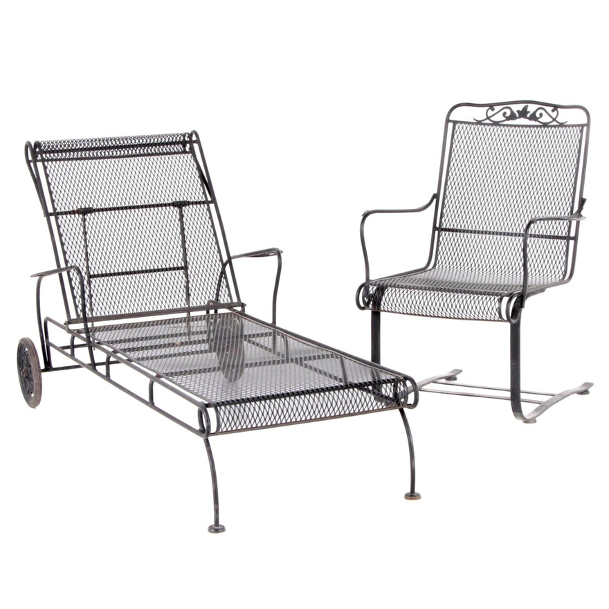 Two-Piece Metal Mesh Patio Seating Group, Late 20th Century