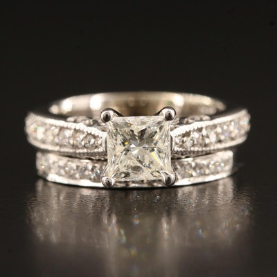 14K 1.02 CTW Diamond Ring and Diamond Band