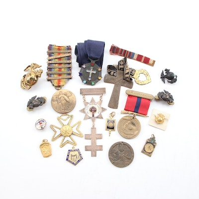 United States Military, Masonic, Methodist, and Service Pins/Badges, Mid-20th C.