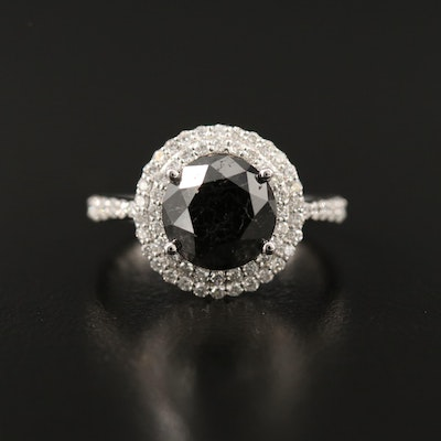 14K 3.91 CTW Diamond Ring with Double Halo