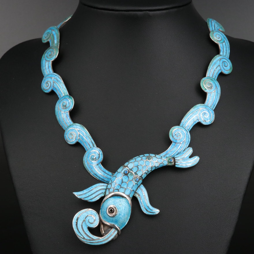 "Margot de Taxco ""Fish in Waves"" Champlevé Necklace"