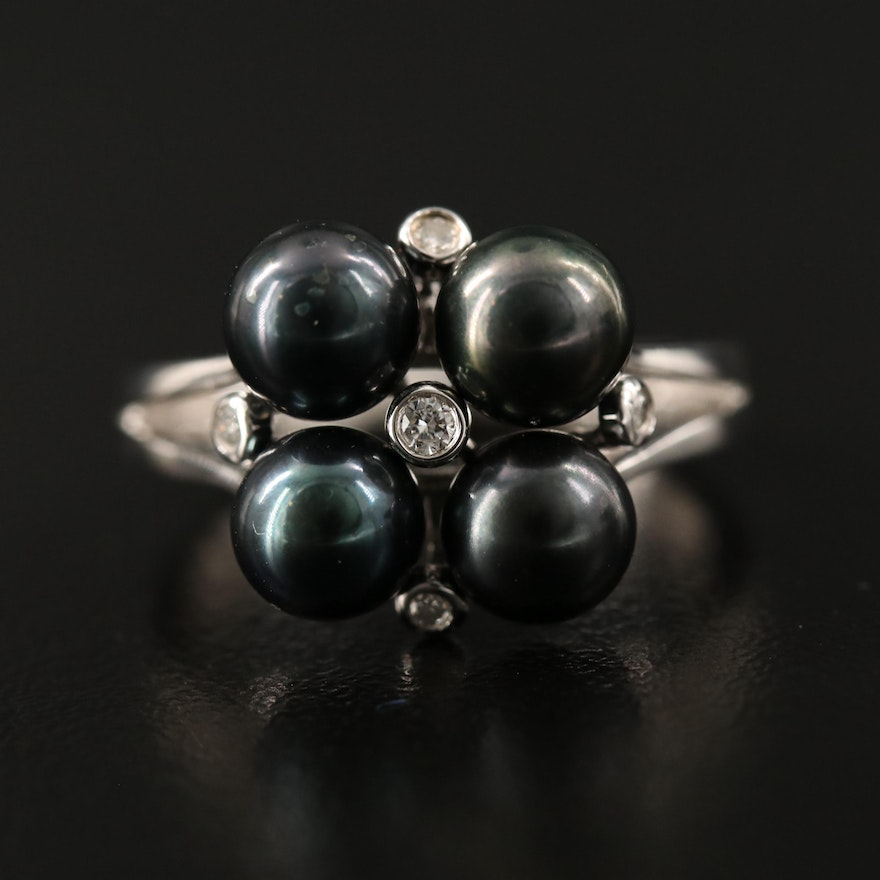 Sterling Pearl and Diamond Cluster Ring with Split Shoulders