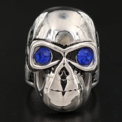 Blue Glass Eyed Skull Ring