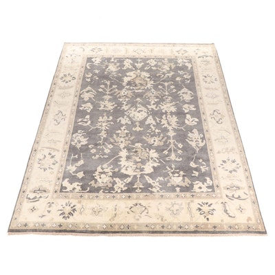9'1 x 12'1 Hand-Knotted Indo-Turkish Oushak Room-Size Rug