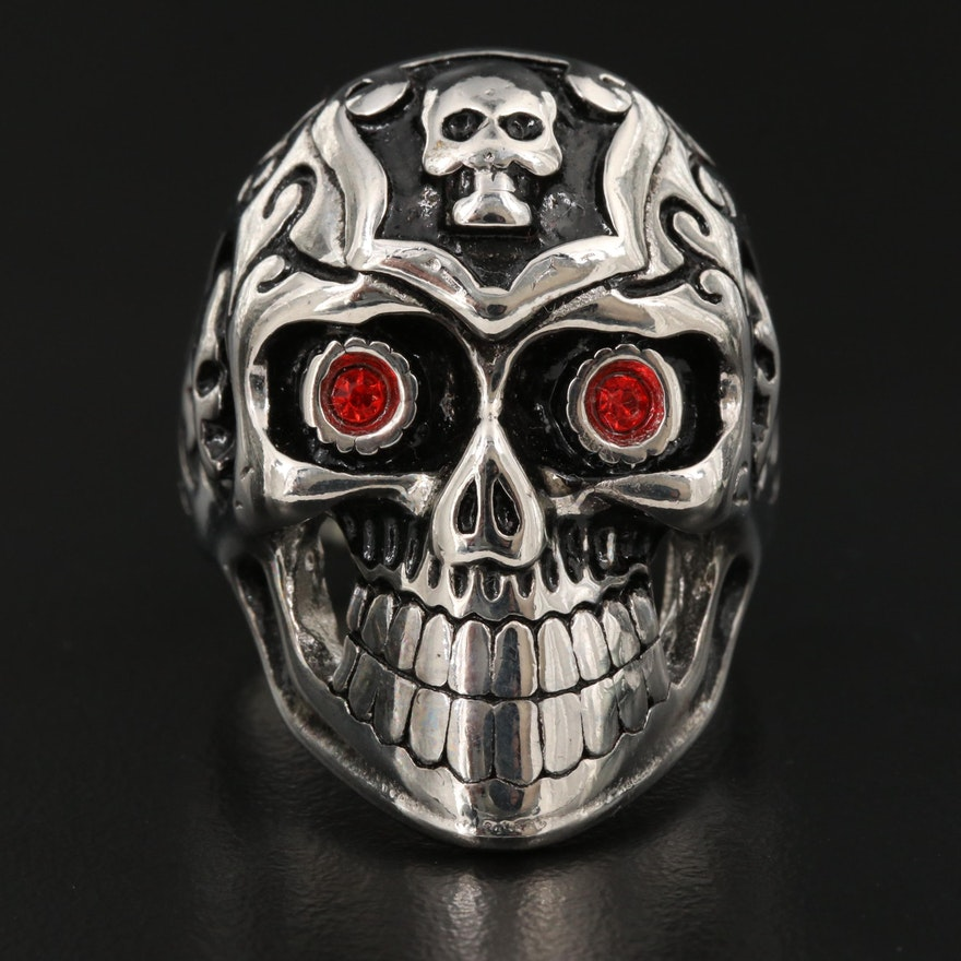 Red Glass Eyed Skull Ring
