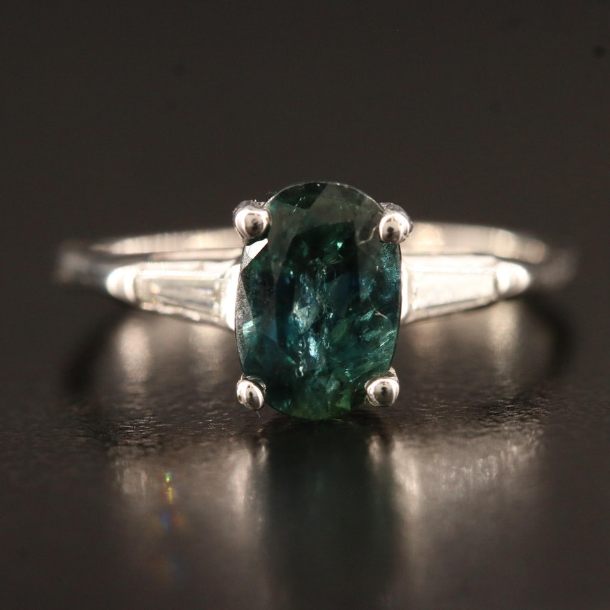 14K 1.76 CT Sapphire and Diamond Ring
