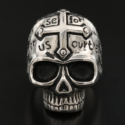 Maltese Cross, Skull and Prayer Ring
