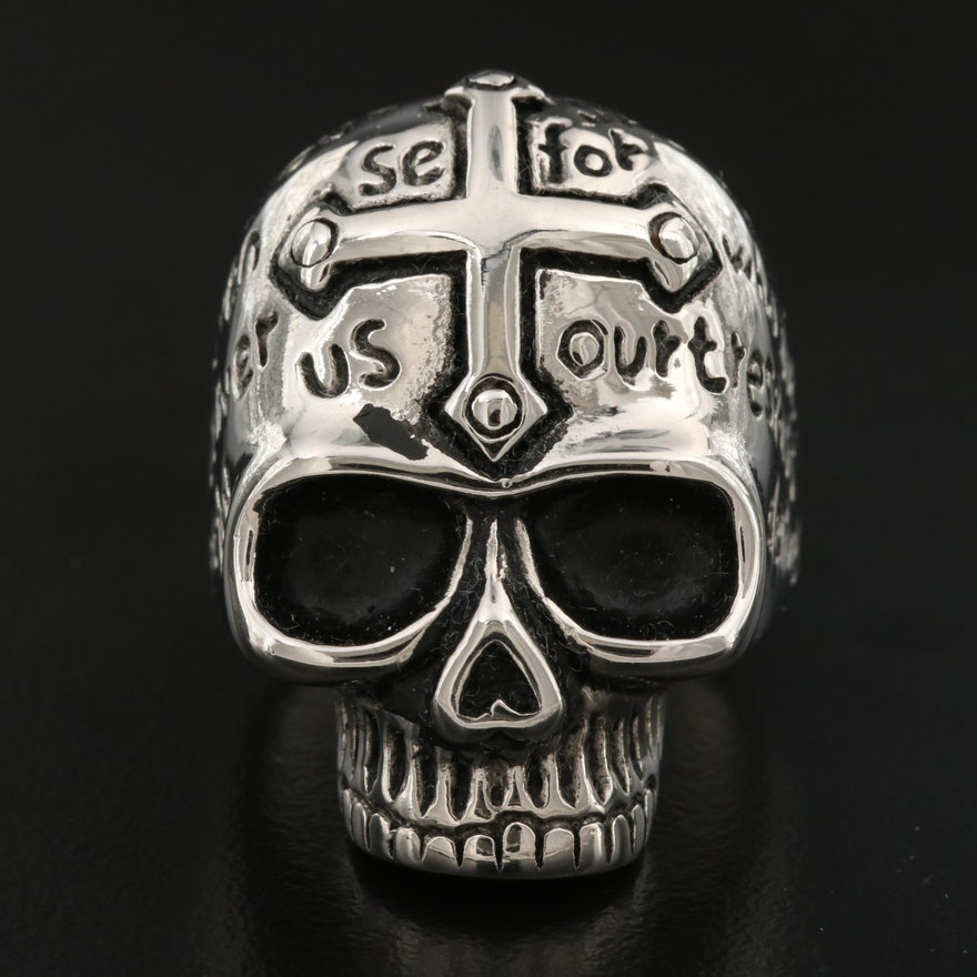 Maltese Cross, Skull and Prayer Ring