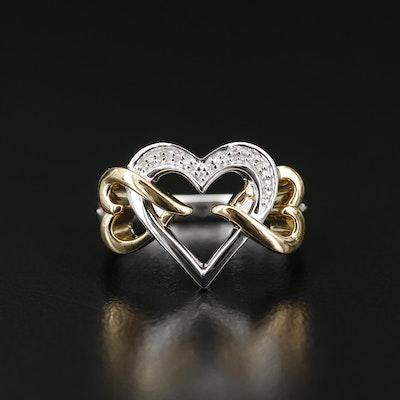 Sterling Silver Diamond Triple Interlocking Heart Ring