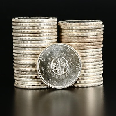 Forty Uncirculated Canadian Silver Dollars, 1964 and 1965