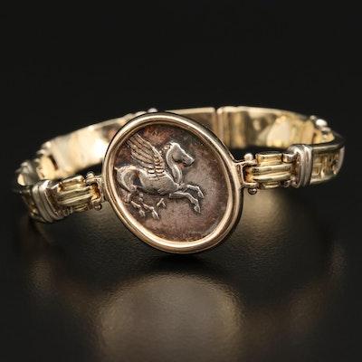 14K Greek Key Bracelet with ca 330 BC Ancient Akarnania Leukas AR Stater Coin