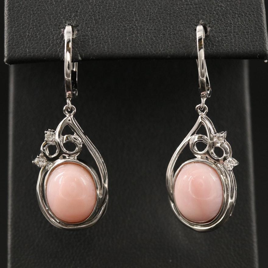 Sterling Silver Common Opal and Topaz Teardrop Dangle Earrings