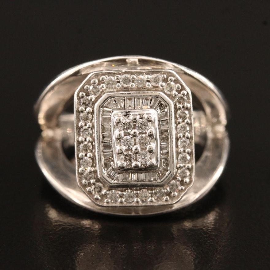 14K Diamond Ring with Double Diamond Halo