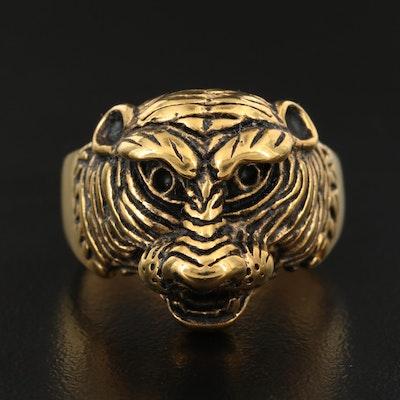 Feline Head Motif Ring