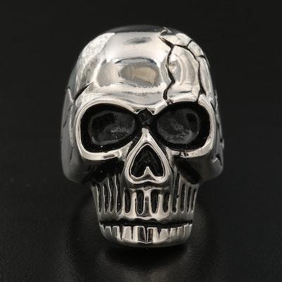 Stainless Steel Enamel Skull Ring