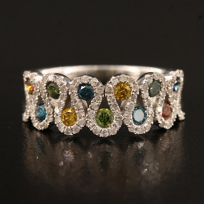 14K Diamond Ring with Multi-Colored Diamond Accents