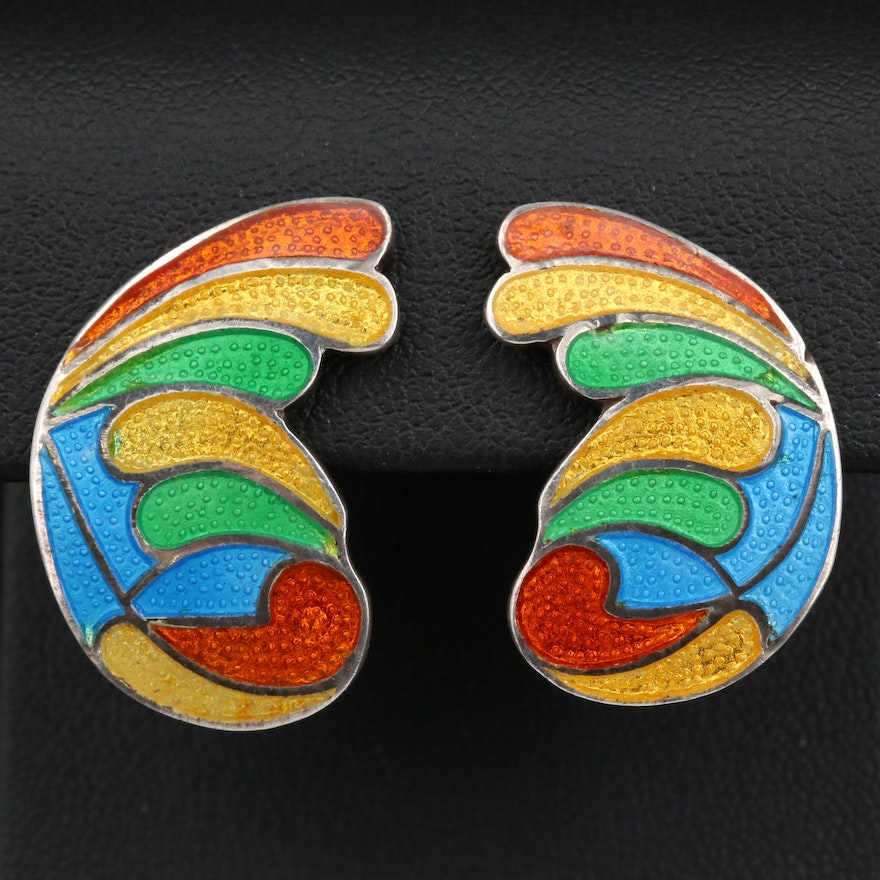 Margot de Taxco Champlevé Multi-Color Clip Earrings