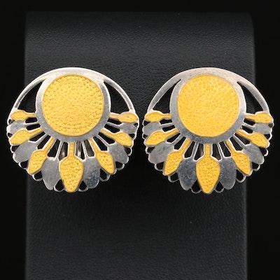 """Margot de Taxco """"Papyrus"""" Champlevé Clip Earrings"""