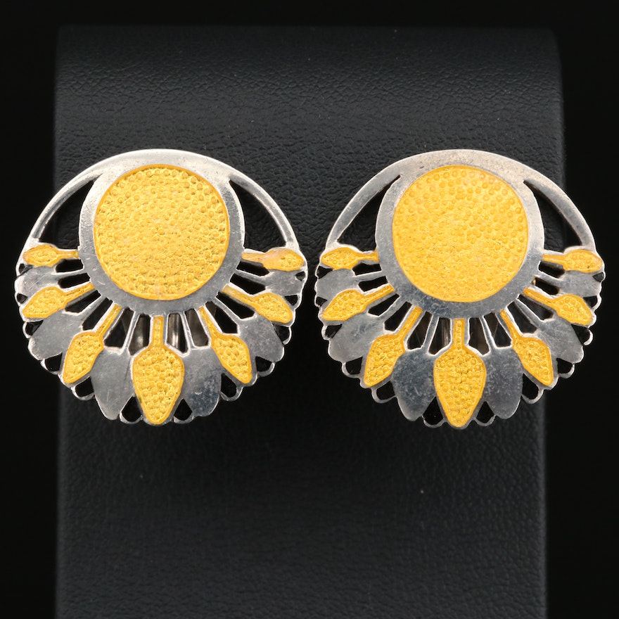 "Margot de Taxco ""Papyrus"" Champlevé Clip Earrings"