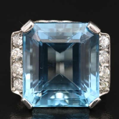 Platinum 13.85 CT Aquamarine and Diamond Statement Ring