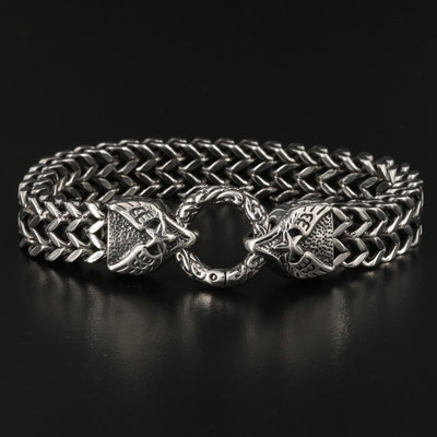 Winged Star Curb Link Bracelet