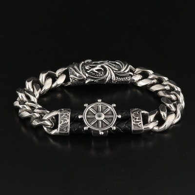 Ships Wheel and Braided Leather Bracelet with Magnetic Clasp