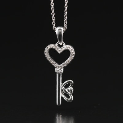 Sterling Silver Diamond Key to the Heart Pendant Necklace
